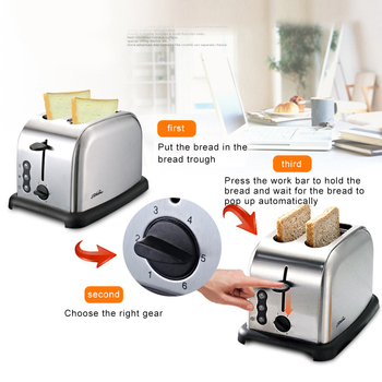 220V Toaster Automatic Baking Bread Maker Breakfast Machine of Bread 6 Levels of Tanning Removable Crumb Tray 5