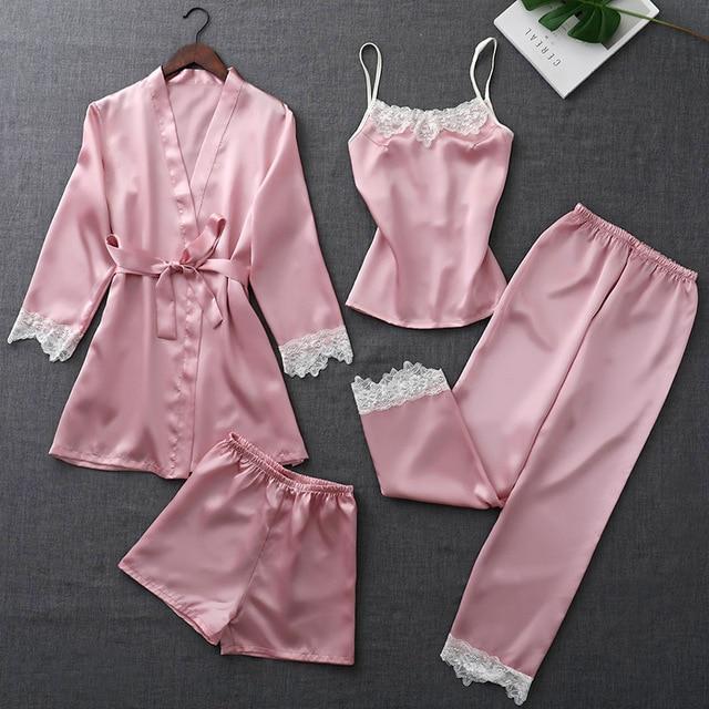 e6caab606 Conjuntos De Pijamas Seda para As Mulheres 4 ZOOLIM Outono Peças com Cinto  Cetim Sleepwear Elegante Rendas Roupa de Dormir Sexy Salão Sono