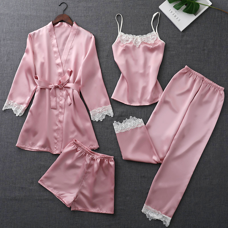 Summer Satin Silk Sleepwear Elegant Lace Nightwear Sexy Sleep Lounge   Pajamas     Sets   for Women 4 Pieces Pijamas with Belt