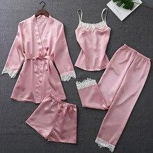 ZOOLIM 가을 실크 잠옷 여성용 4 개 세트 Pijamas with Belt Satin Sleepwear 우아한 레이스 Nightwear 섹시한 수면 라운지