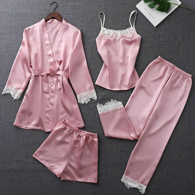 ZOOLIM ฤดูใบไม้ร่วงชุดนอนผ้าไหมชุดผู้หญิง 4 ชิ้น Pijamas เข็มขัดซาตินชุดนอนลูกไม้ชุดนอนเซ็กซี่ Sleep Lounge