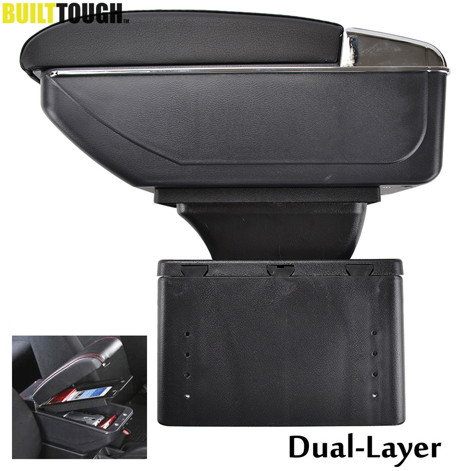 Universal Dual Layer Armrest Arm Rest Center Centre Console Storage Box Car Styling Pu Leather Cup