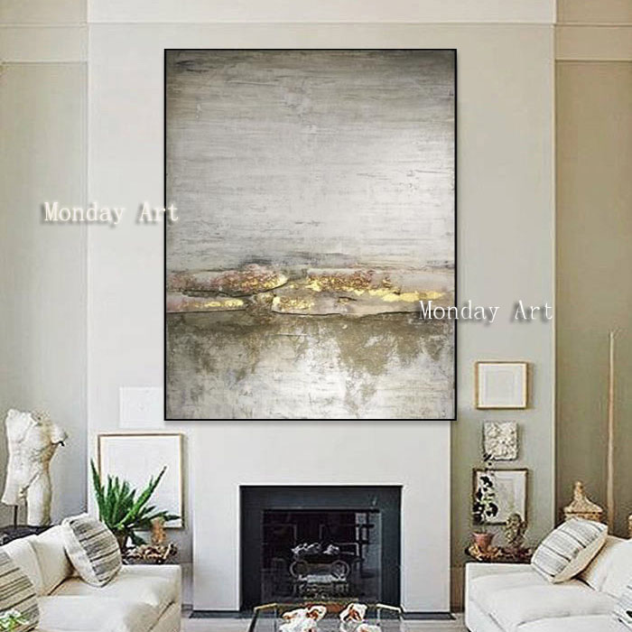 14 Handmade thick knife high quality Modern Abstract Fine Artwork Canvas Decor Alec Gold and silver Bedroom artwork Wall Oil art