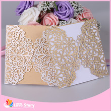 10sets/Lot 15x15cm Creative Flower Laser Cut Business Party Birthday Invitations Card Decoration Romantic Wedding Supplies