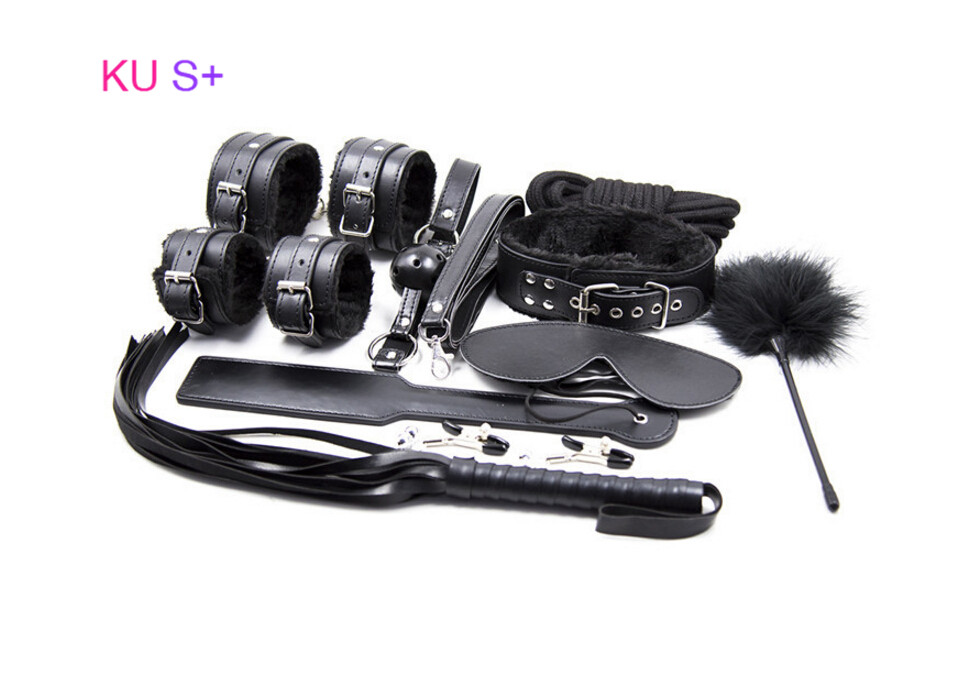 ФОТО KU S+ 10pcs/Set Handcuffs Ankle cuffs Collar Gag Mask Nipple clamps Paddle Whip Rope Feather Adult Game Bed Erotic Bandage