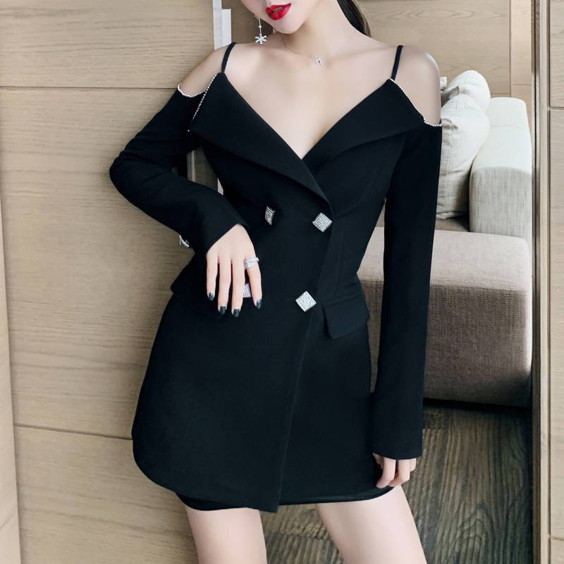 INDRESSME 2019 New Off the Shoulder Double Breasted Blazer Sexy Spaghetti Straps V Neck Mini Dress Party Women Dress in Dresses from Women 39 s Clothing