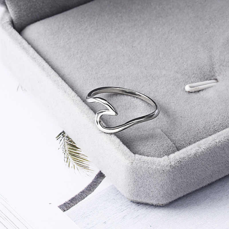 Unisex Antik Mawar Emas Perak Wave Cincin untuk Wanita Logam Sederhana Surfer Midi Cincin Knuckle Surf Cincin Laut Cincin Kawat CE05111