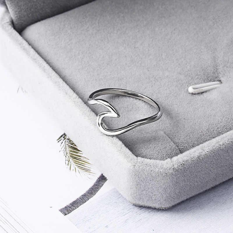 Unisex antiguo oro rosa anillos de onda de plata para mujeres Simple Metal Surfer Midi anillo nudillos Surf anillos océano anillo de alambre CE05111