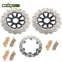 BIKINGBOY мотоциклетные спереди и сзади тормозные диски ротора диски колодки для Honda CBR 1100 XX супер черный Дрозд 1997 1998 CBR1100XX 97 98 комплект
