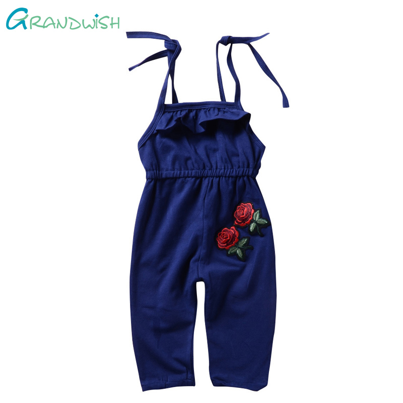 Grandwish Summer Baby Rompers Flower Embroidery Baby Boy Girl Jeans Jumpsuit Cotton Denim Overalls Infant Clothes 18M-6T,JC050