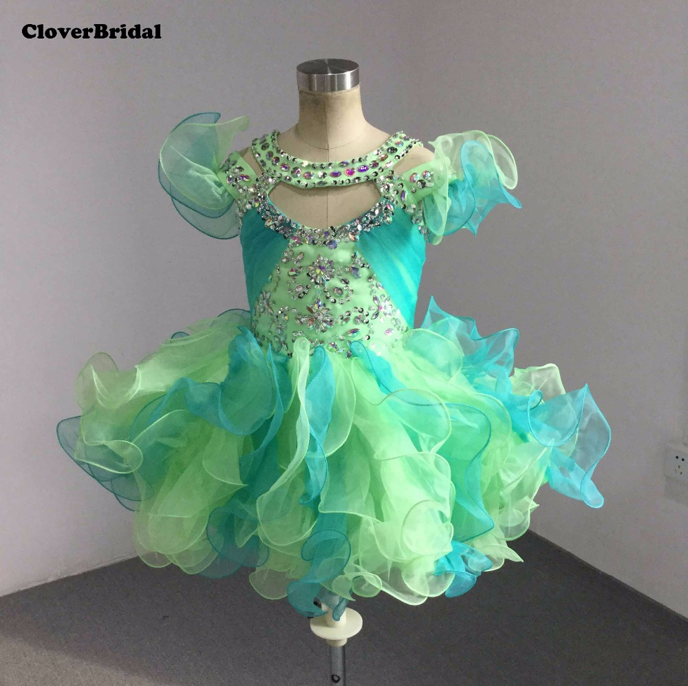 Lime/jade cute ruffled straps beaded halter cupcake little   girls   pageant   dresses   ruched crystal beads glitz pageant   dress