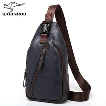 ФОТО badenroo new leather mens chest bags famous brands theftproof button fashion travel crossbody bags designer man messenger bags