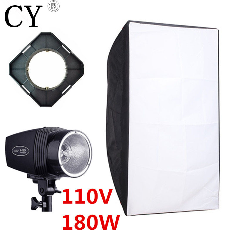 Godox K-180A Photography Softbox Flash Lighting Kits 180ws 110v Flash Light+Lightbox+Universal Mount Photo Studio Accessories