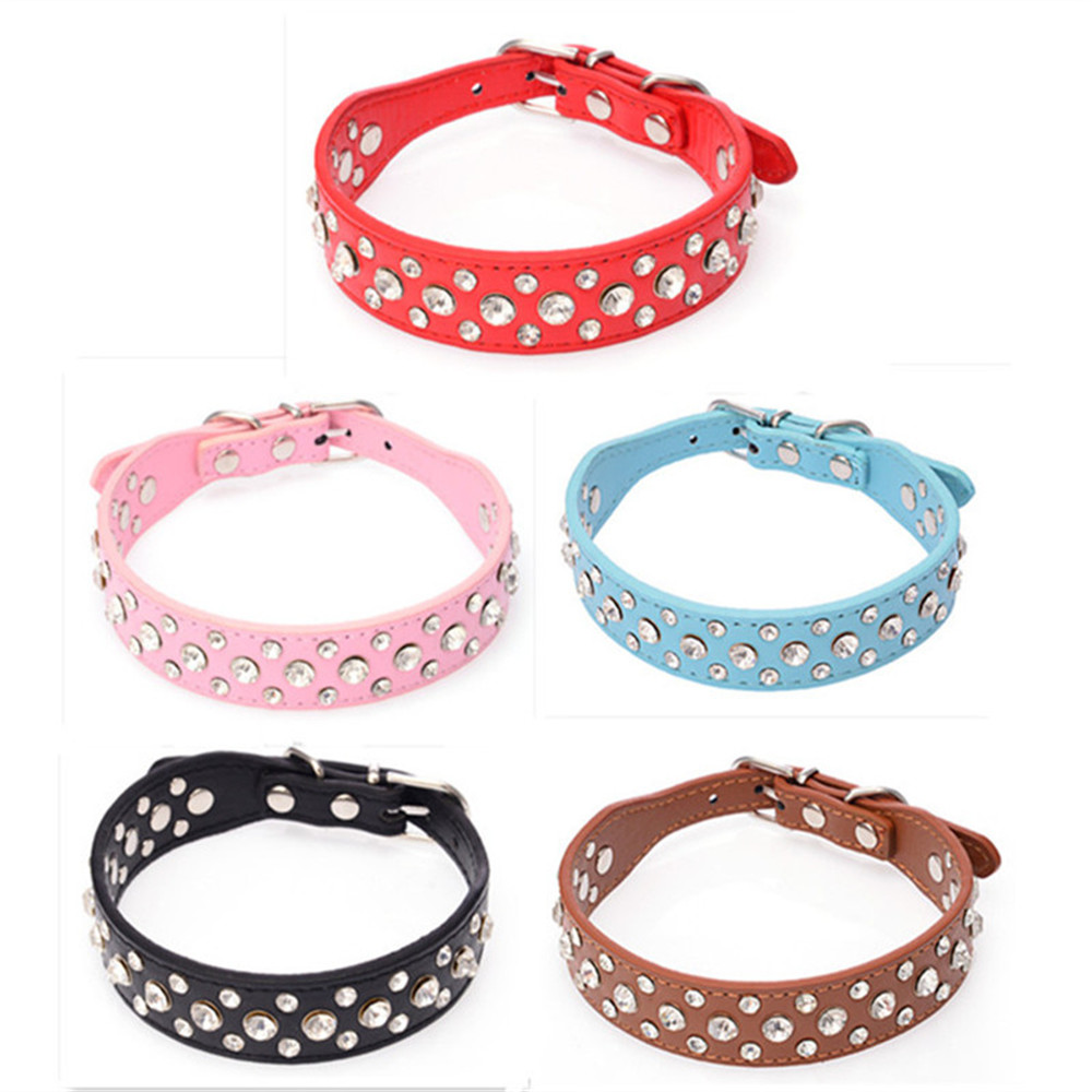PU Leather font b Pet b font Dog Collar With Beautiful Rhinestone Bling Style For Large