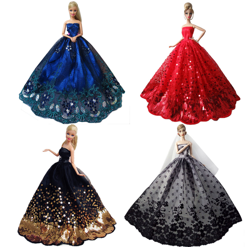 Gorgeous Fairy Girl Dolls Toys Wedding Party Dresses Gown Outfits Doll Accessories for Barbie Toys Children Girls Birthday Gift