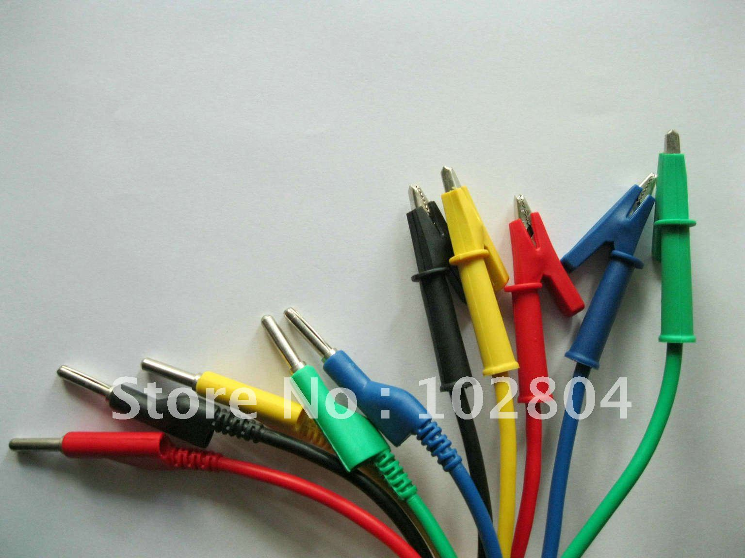 1 Set 5 Colors Banana Plug to Alligator Silicone Cable High Voltage ...