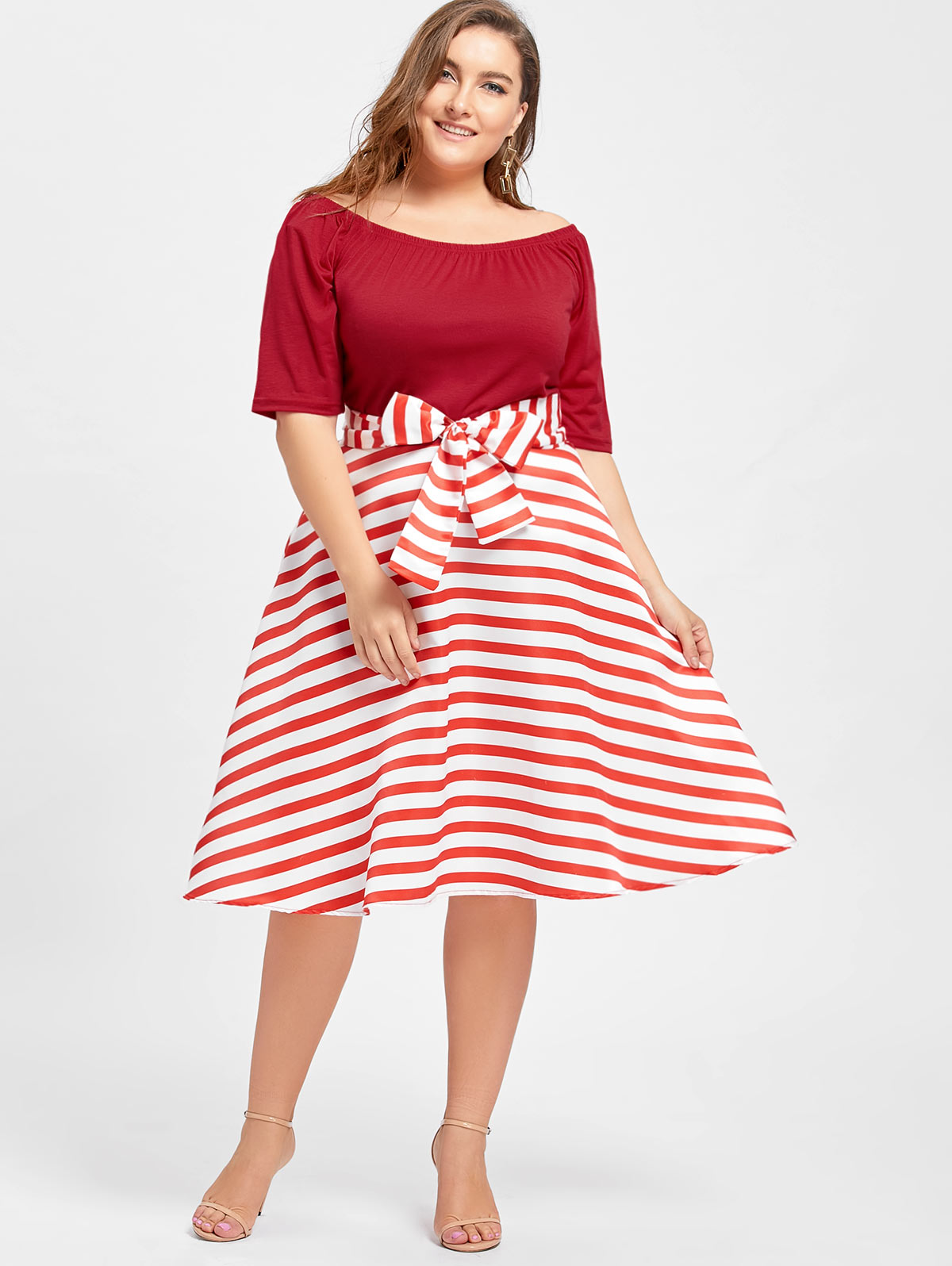 Kenancy Women Retro Dresses Plus Size Stripe Christmas