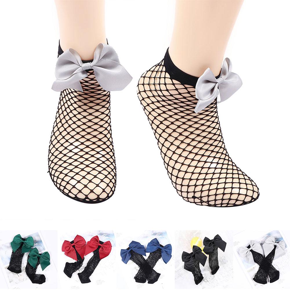 Womens//Ladies Fishnet Bow Ankle High Socks 1 Pair LW450