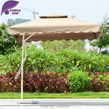 Purple Leaf Patio Umbrella Offset 7.2ft Umbrella Outdoor Market Beach Cafe Parasol  Round/Square 4 Ribs Iron UV Resistant