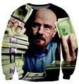 New fashion  Mr Heisenberg breaking bad make money dollars Crewneck sweatshirt 3d women/men pullover hoodie Drop ship