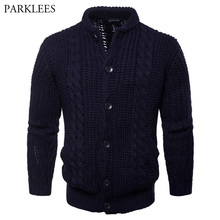 Mens Solid Color Button Point Cardigan Sweater 2018 Autumn Winter Men Slim Fit Cable Knitted Jacket With Pocket Male Sweatercoat