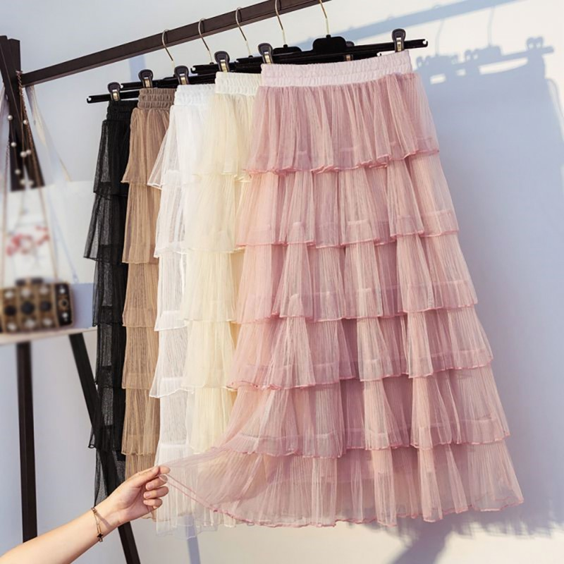 Girls Spring Summer Sweet Cake Layered Long Mesh Skirts Princess High Waist Ruffled Vintage Tiered Tulle Pleated Ins Skirts Lace