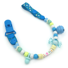 Personalized -any name color beads with solid Grosgrain pacifier clips pacifier holders chain dummy clip /Teethers clip for baby