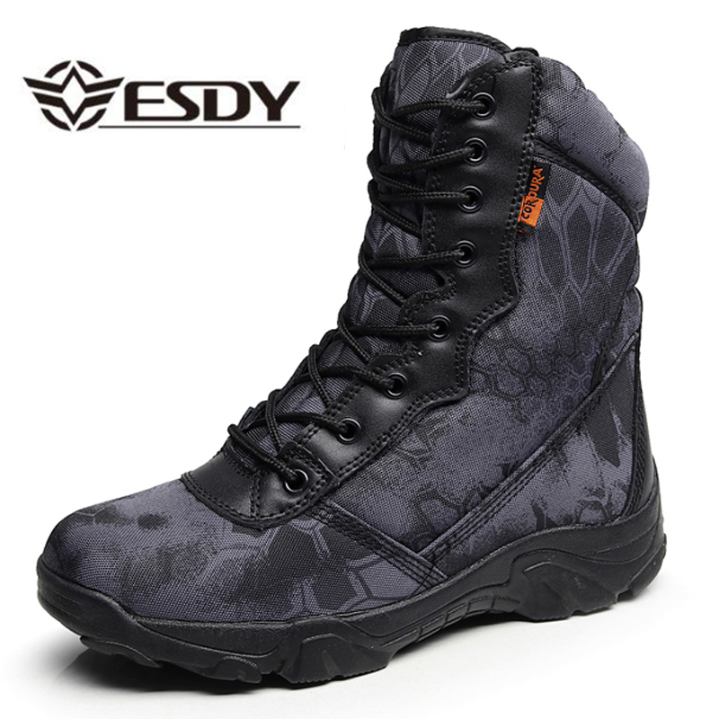 Men Outdoor Camping Climbing Hunting Breathable Tactical Combat Shoes Python Camouflage High Tube Leather Waterproof Ankle