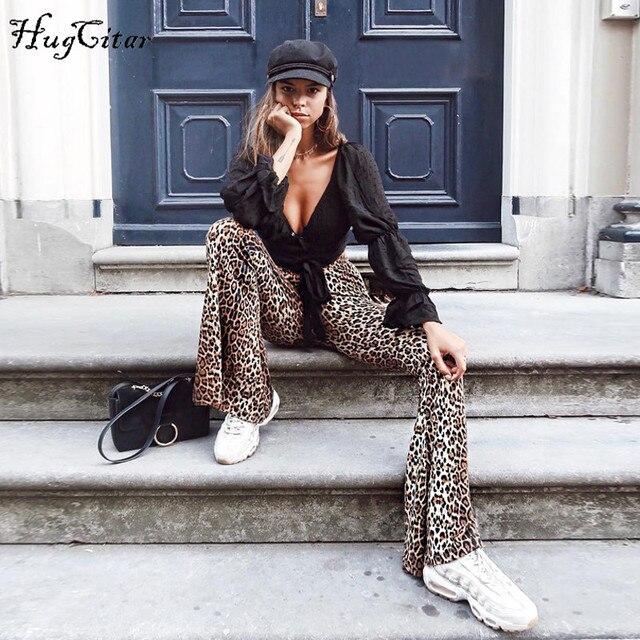 Hugcitar high waist leopard print flare leggings 2018 autumn winter women fashion sexy bodycon trousers club pants 3