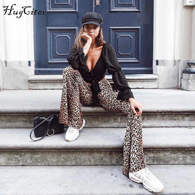 Hugcitar yüksek bel leopar baskı flare tayt 2018 sonbahar kış kadın moda seksi bodycon pantolon kulübü pantolon