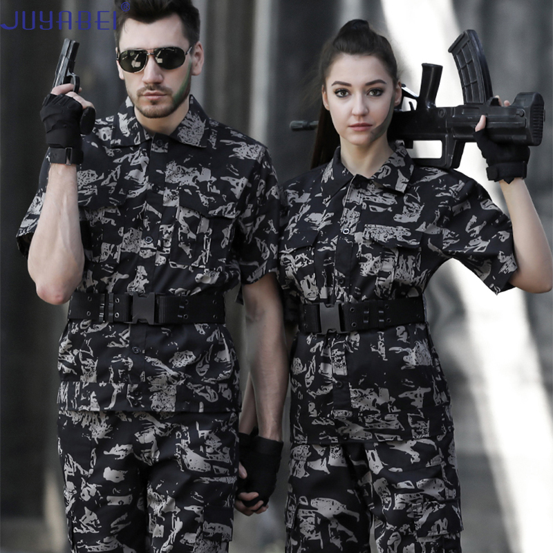 Army Tactical Military Uniform Camouflage Short-sleeved Shirt + Trousers Men's Summer Special Forces Field Training Wear Suit