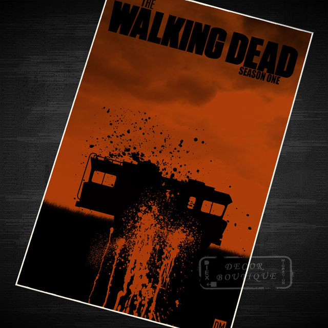 The walking dead blood movie poster classic retro vintage kraft canvas diy wall sticker home bar