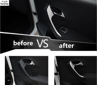 Free shipping 2pcs/lot Stainless steel armrest adornment sequins car stickers styling for 2011 2017 Volkswagen VW POLO