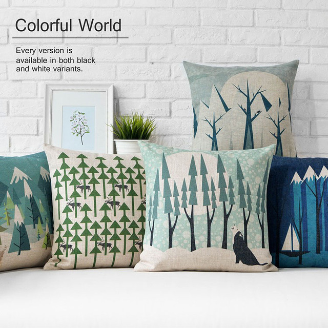Green Style Cold Tree And Deer Sofa Pillow Cushion Cover Pillow Cushion  Covers For Office/
