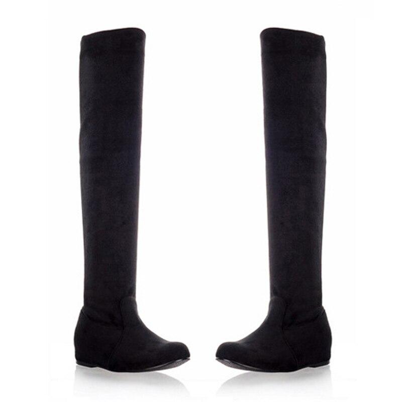 Altas Las gris Pisos De Black Sobre 2017 Estiramiento Mujeres Moda Botas Altura Zapatos Muslo Europea Aumento La Rodilla ZTwf0q