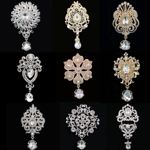 DIEZI Vintage Gold Silver Color Crystal Brooches for Wedding Women Party Dress Rhinestone Bridal Bouquet Water Drop Brooch pins