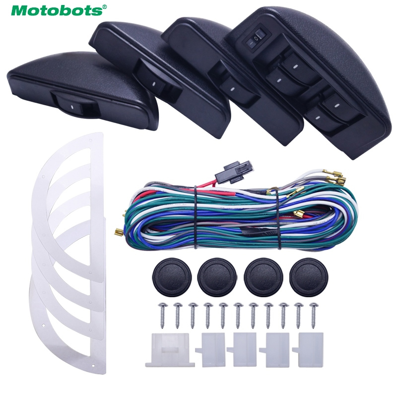 MOTOBOTS Universal Moon Electronic Car Power Window Switch 8pcs Switches With Holder And Wire Harness For 4 Doors #CA3852