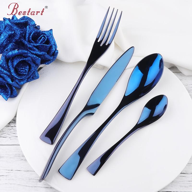 Luxury Blue Kaya Steel Cutlery Dinnerware Set 24pcs Tableware Knives Forks Dining Dinner Western Restaurant Food