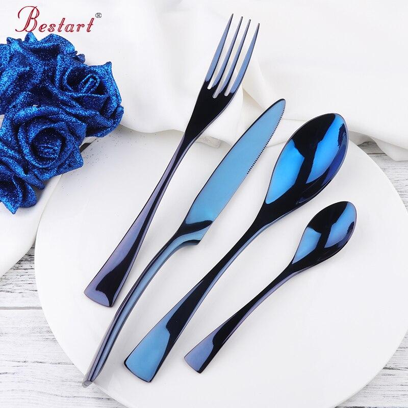 Luxury Blue Kaya Acciaio Posate Stoviglie Set 24 pz Coltelli Forchette Da Tavola Da Pranzo Cena Ristorante Cibo Occidentale Set di Posate