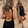 New Arrival Fashion Summer Sexy Sleeveless Sequined Tank Round Neck Empire Waist Blackless Club Party Black Mini Dress CL2490