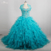 RSE774 Puffy Ruffle Skirt Sweetheart Ball Dress Elegant Beaded Two Piece Turquoise Quinceanera Dresses With Jacket