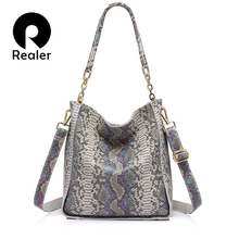 REALER brand new arrival genuine leather handbag women shoulder bag female serpentine prints tote bag ladies messenger bag
