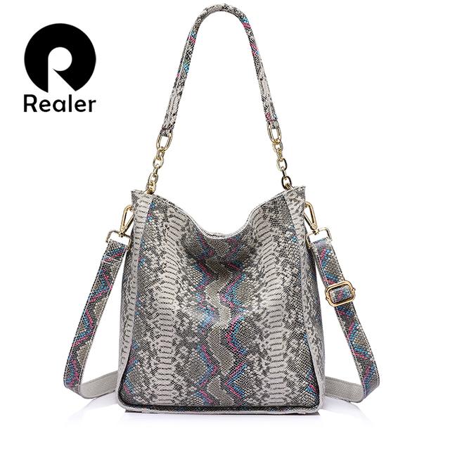 REALER brand new arrival genuine leather handbag women shoulder bag female serpentine prints tote bag ladies messenger bag