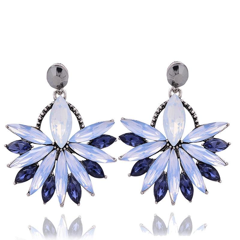 Güzel Moda Çiçek Kristal Saplama Küpe Takı Tam Avusturyalı - Kostüm mücevherat - Fotoğraf 4