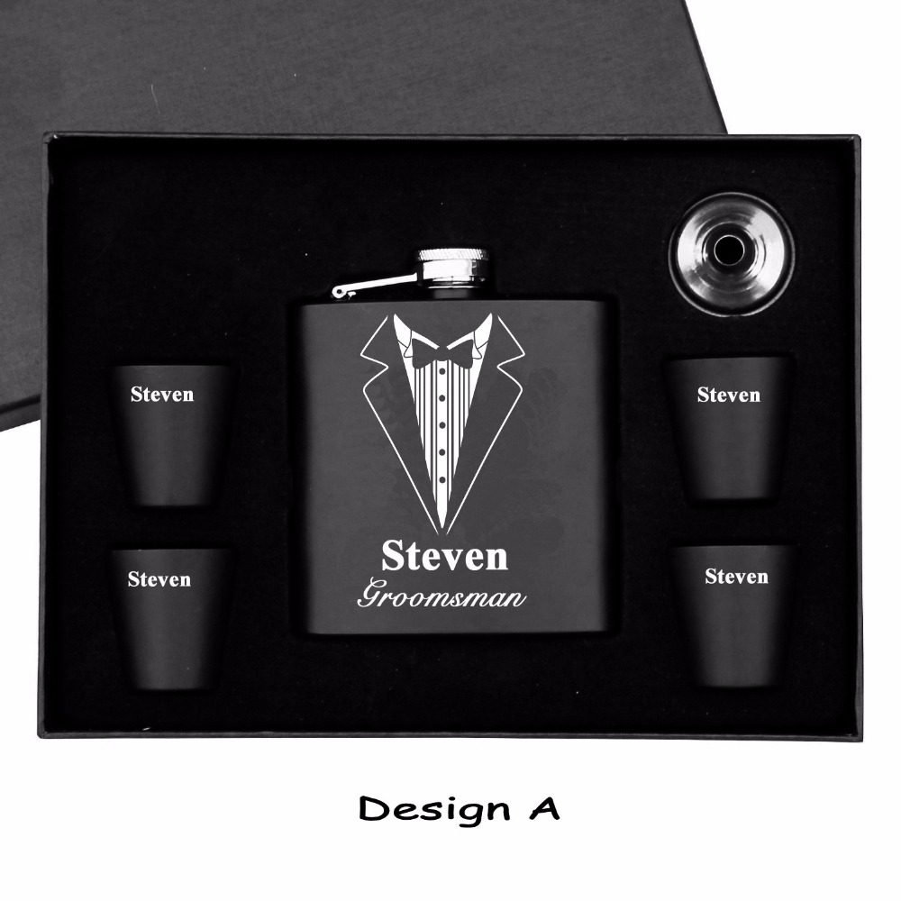 1 Set Mans Gift Personalized Engraved Groomsman Stainless Steel Hip Flask 6pcs