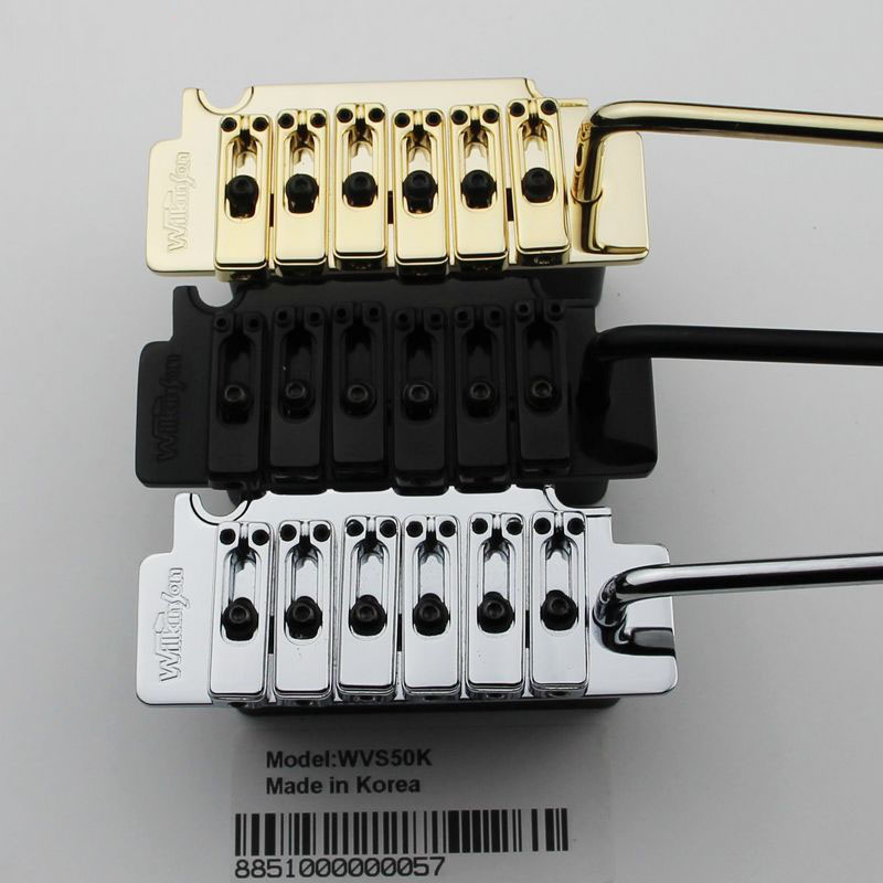 New Wilkinson WVS50K Guita Tremolo Bridge With matching Satin Saddles in Black, Gold or Chrome цена