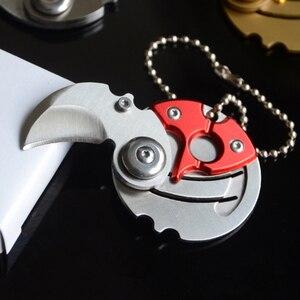 Маленький складной Монетный нож с подвеской для ключей, для спорта на открытом воздухе, кемпинга, работы, аварийные средства самозащиты