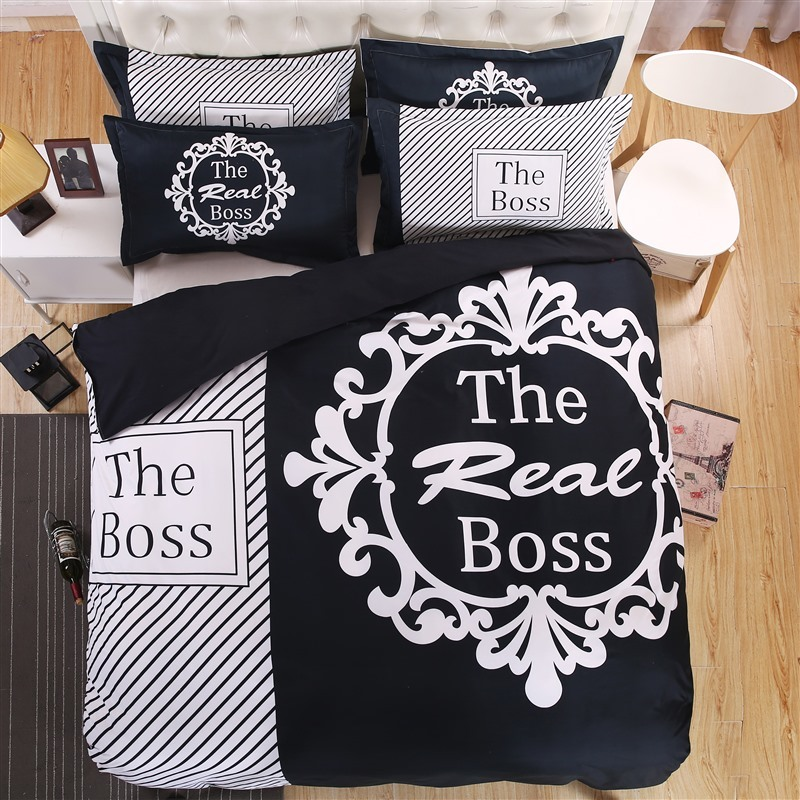 Brief 3D Couple s Bedding Set The Real Boss Pattern Duvet Cover Set Soft Flat Sheet