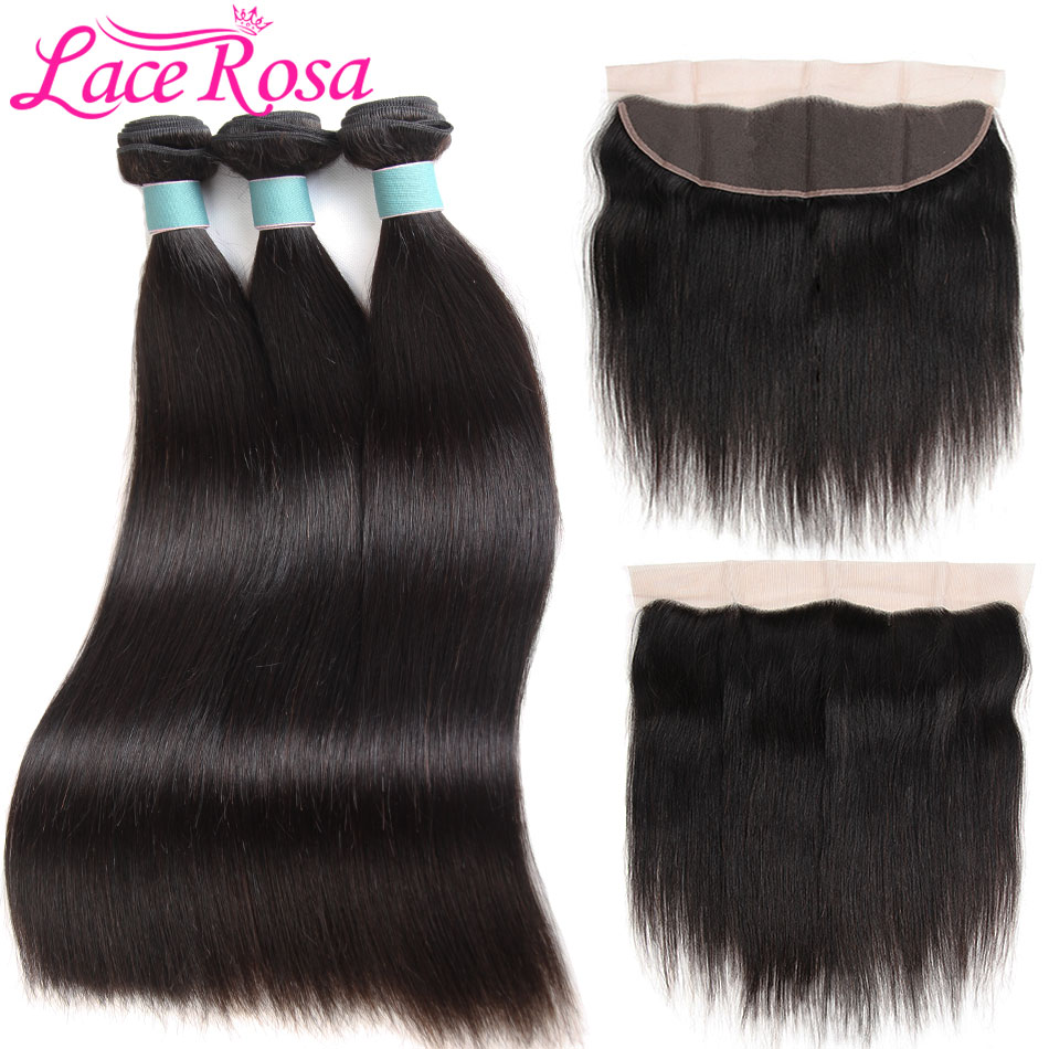 Brazilian Straight Hair 3 Bundles With Frontal Closure Human Hair Bundles With Closure Lace Frontal Lace Rosa Hair Non Remy Hair