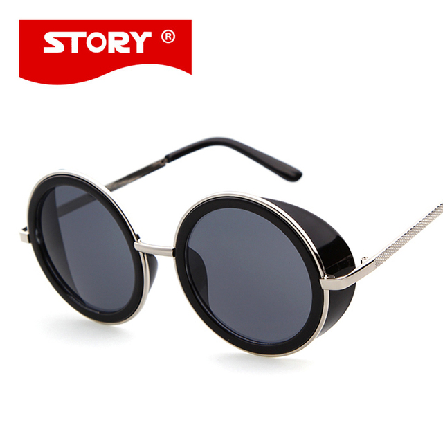 c13ed136eb02e New Brand Windshield Round Retro Glasses Steampunk Sunglasses Cyber Goggles  Vintage Retro Style Blinder Party oculos de sol 3317